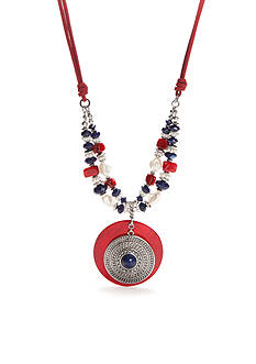 Ruby Rd Silver-Tone Americana Pendant Necklace