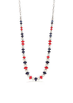 Ruby Rd Silver-Tone Americana Strand Necklace