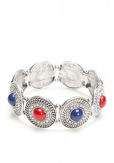 Ruby Rd Silver-Tone Americana Disc Stretch Bracelet
