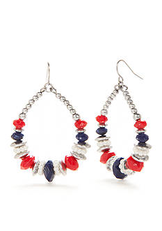Ruby Rd Silver-Tone Americana Gypsy Hoop Earrings