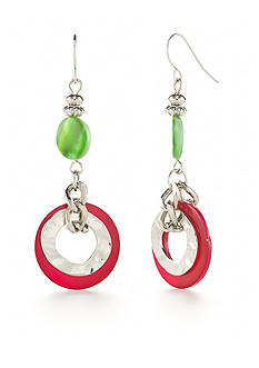 Ruby Rd Silver-Tone Tropical Punch Double Drop Earrings