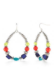 Ruby Rd Silver-Tone Tropical Punch Gypsy Hoop Earrings