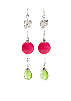 Ruby Rd Silver-Tone Tropical Punch Trio Earring Set