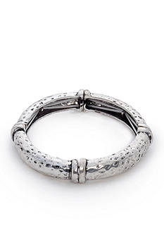 Ruby Rd Silver-Tone Metal Works Hammer Stretch Bangle Bracelet