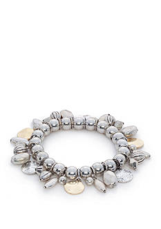 Ruby Rd Two-Tone Metal Woks Beaded Shaky Stretch Bracelet