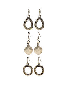 Ruby Rd Gold-Tone Metal Works Trio Drop Earring Set