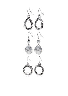 Ruby Rd Silver-Tone Metal Works Trio Drop Earring Set