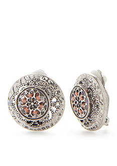 Ruby Rd Silver-Tone Dream Weaver II Button Clip Earrings