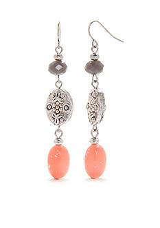 Ruby Rd Silver-Tone Dream Weaver II Linear Drop Earrings
