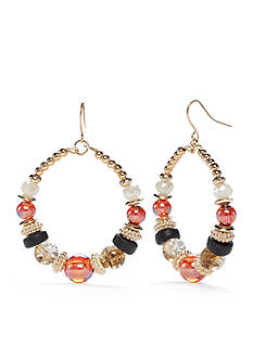 Ruby Rd Gold-Tone Gypsy Caravan Beaded Gypsy Hoop Earrings