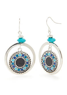Ruby Rd Silver-Tone Keeping Cool Disc Drop Earrings