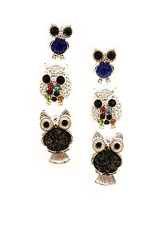 Red Camel Owl Trio Earrings