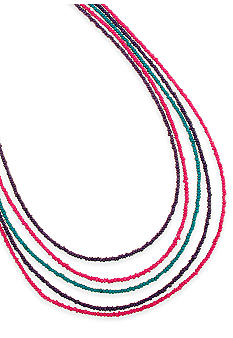 Red Camel Purple, Blue and Pink Multistrand Seedbead Necklace