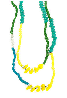 Red Camel Blue, Turquoise, Yellow and Green Seedbead Necklace