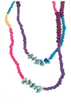 Red Camel Purple, Blue and Pink Seedbead Necklace