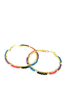 Red Camel Purple, Blue, Pink and Black Seedbead Hoop Earring