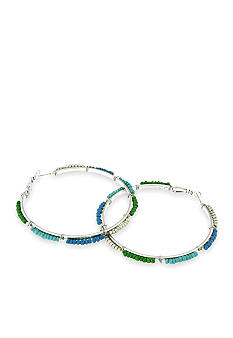 Red Camel Blue, Turquoise and Green Hoop Earring