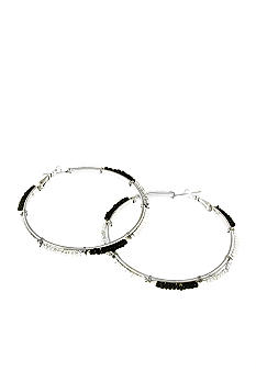 Red Camel Clear, Silver, White and Black Seedbead Hoop Earring