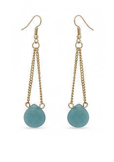 Red Camel Gold-Tone Blue Stone Drop Earrings