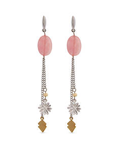 Red Camel Two-Tone Charm Linear Earrings