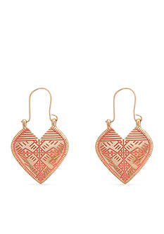 Red Camel Gold-Tone Pink Heart Drop Earrings