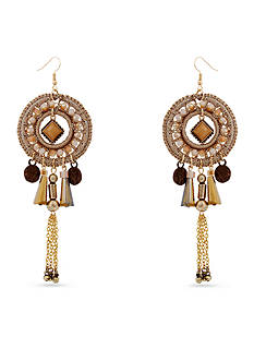 Red Camel Gold-Tone Filigree Chandelier Earrings