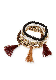Red Camel Gold-Tone Jet Beaded 7-Piece Stretch Bracelet Set