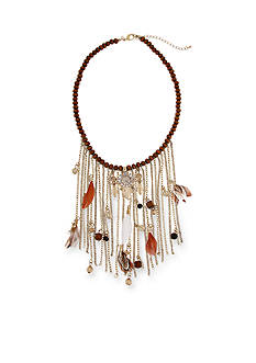 Red Camel Gold-Tone Bead and Feather Statement Necklace