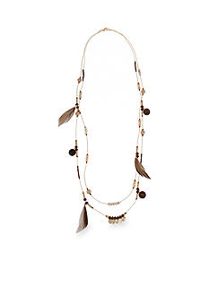 Red Camel Gold-Tone Bead and Feather Long Necklace