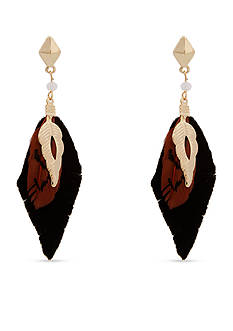 Red Camel Gold-Tone Feather Drop Earrings