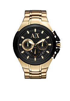 Armani Exchange AX Yellow Gold Tone Round Chronograph Miami Watch
