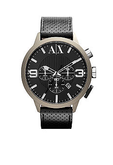 Armani Exchange AX Mens Color-Coated Stainless Steel and Leather Watch