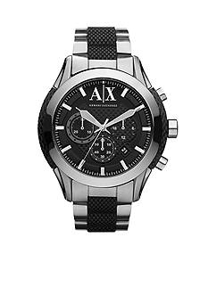 Armani Exchange AX Men's Stainless Steel and Black Silicone Chronograph Watch