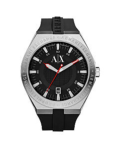 Armani Exchange AX Men's Round Black Dial with Black Silicone Strap Watch