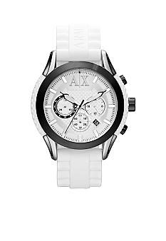 Armani Exchange AX Men's White Silicone and Black Stainless Steel Chronograph Watch