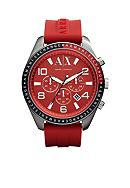Armani Exchange AX Men's Red Silicone Strap Zacharo Chronograph Watch