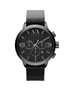 Armani Exchange AX Mens Grey Stainless Steel and Black Leather Chronograph Watch