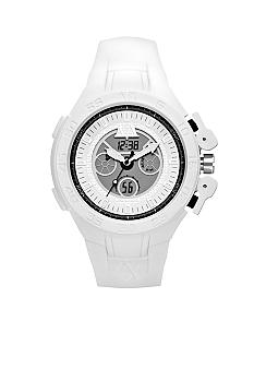 Armani Exchange AX Mens White Silicone Analog-Digital Watch