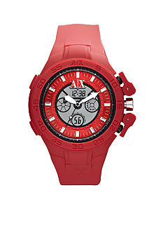 Armani Exchange AX Men's Red Silicone Analog Digital Chronograph Watch