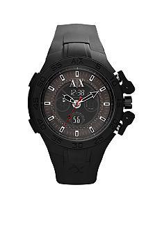 Armani Exchange AX Men's Black Silicone Analog Digital Chronograph Watch
