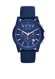 Armani Exchange AX Men's Active Blue Silicone Strap Chronograph Watch