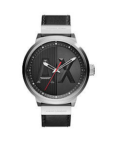 Armani Exchange AX Men's Street Black Leather 3 Hand Watch
