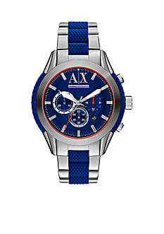 Armani Exchange AX Men's Chronograph Stainless Steel and Blue Silicone Watch