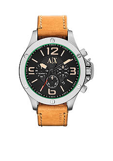 Armani Exchange AX Tan Leather Chronograph Watch