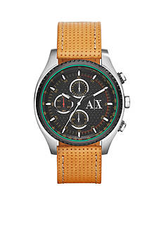 Armani Exchange AX Men's Active Tan Perforated Leather Chronograph Watch