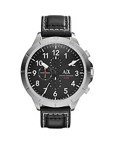 Armani Exchange AX Men's Street Black Leather Chronograph Watch