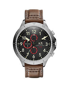 Armani Exchange AX Men's Street Brown Leather Chronograph Watch