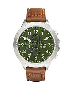 Armani Exchange AX Men's Street Brown Leather Strap Chronograph Watch