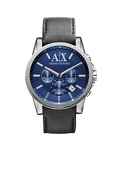 Armani Exchange AX Men's Outer Banks Black Leather Chronograph Watch