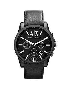 Armani Exchange AX Men's Round Black Chornograph with Black Leather Strap Watch